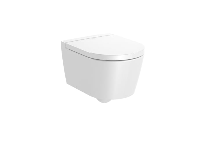 ROUND - Compact vitreous china Rimless wall-hung WC with horizontal outlet