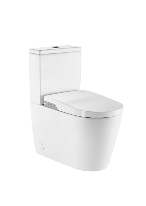 In-Wash® - Back to wall vitreous china close-coupled smart toilet with dual outlet. Needs power supply.