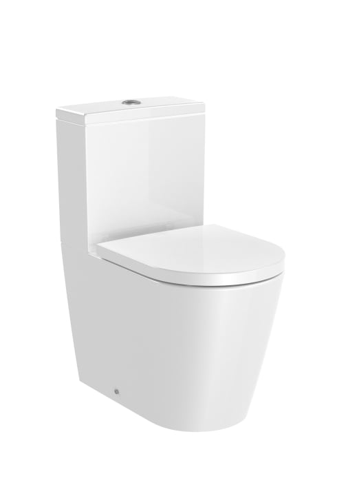 ROUND - Back to wall compact vitreous china close-coupled Rimless WC with dual outlet