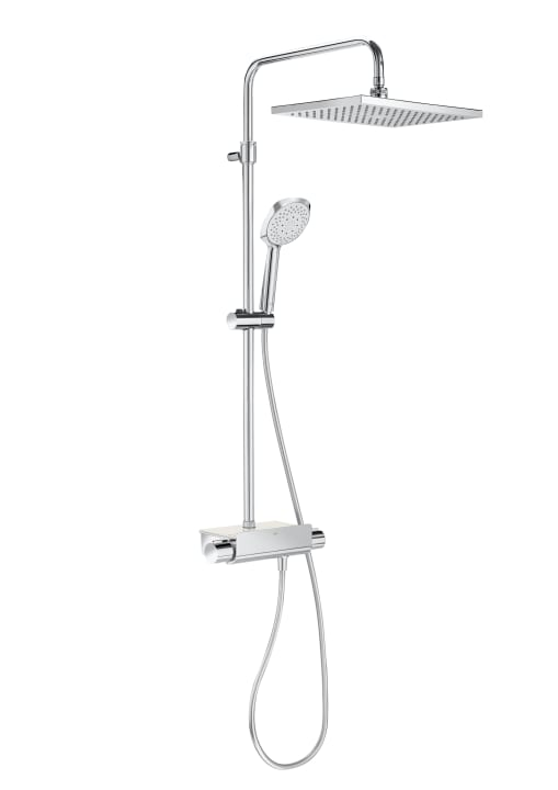 SQUARE - Thermostatic shower column with shelf
