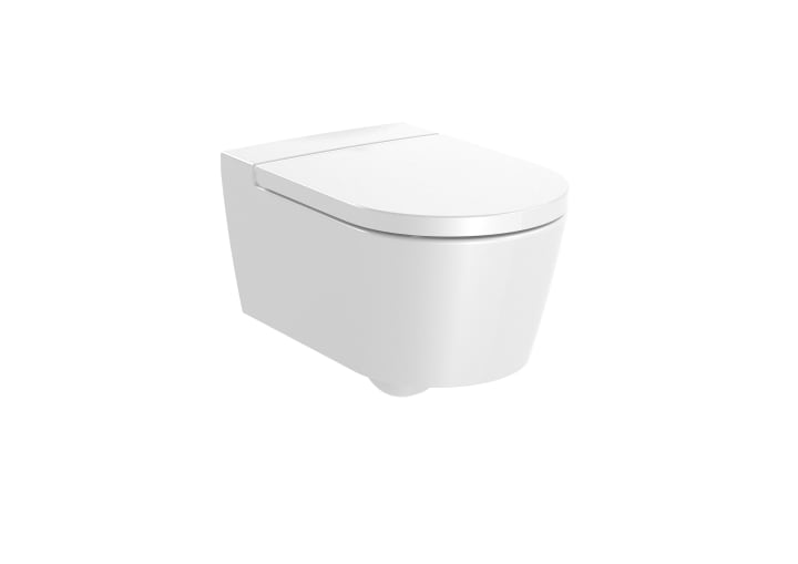 ROUND - Vitreous china Rimless wall-hung WC with horizontal outlet
