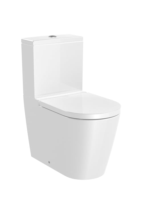 ROUND - Back to wall vitreous china close-coupled Rimless WC with dual outlet