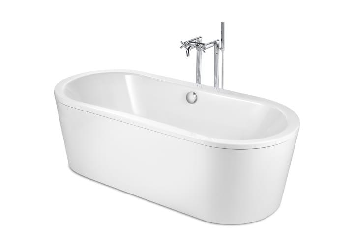 Freestanding oval steel bath with anti-slip base (3 mm steel sheet ...