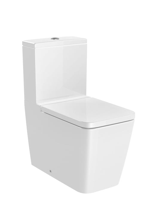 SQUARE - Back to wall vitreous china close-coupled Rimless WC with dual outlet