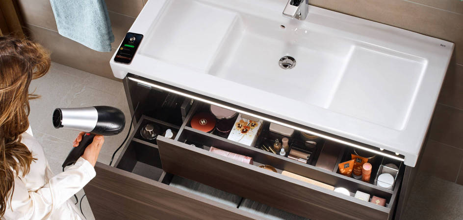 Stratum-N furniture unit with Bluetooth® speakers and internal lighting