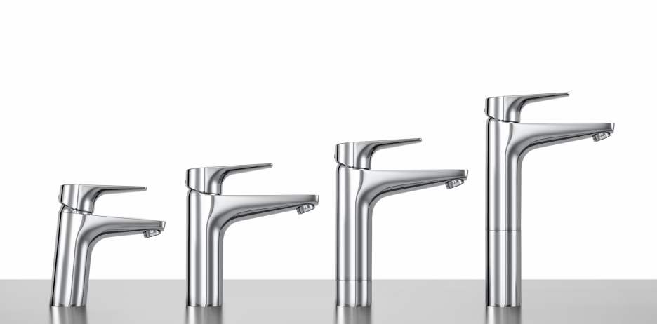 Basin faucets with different heights