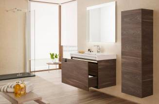 Wooden vanity units and countertops for a Nordic-style bathroom